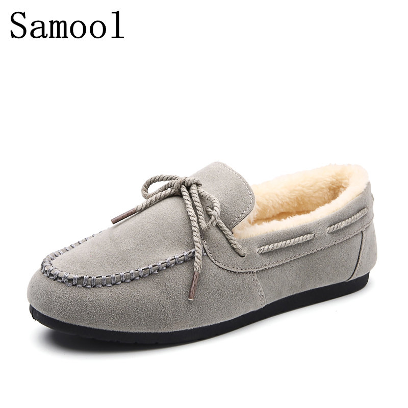 2017 Winter Fur Women Loafers Slip-on Leather Ladies Flats Warm Plush Driving Boat Shoes Women Moccasins Casual Solid Shoes 2017 summer new fashion sexy lace ladies flats shoes womens pointed toe shallow flats shoes black slip on casual loafers t033109