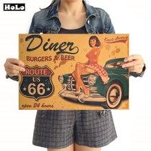 Шоссе 66 США украшение для дома в классическом стиле винтажный плакат на стену диаграмме Ретро Бумага матовая крафт-Бумага кафе бар Паб стикеры 42x30 см MXC013
