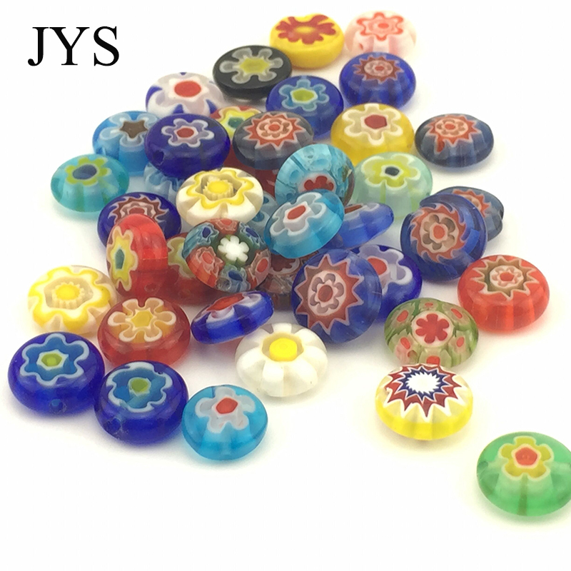 EUROPE 10MM 40 PCS / LOT MIXED COLOR ROUND EYE MILLEFIORI GLASS DONUT BEADS FOR DIY JEWELRY fINDING(China)