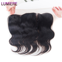 Lumiere Hair 13x4 Ear To Ear Lace Closure Free Part Body Wave Indian Hair Lace Frontal 100% Remy Human Hair Natural Black