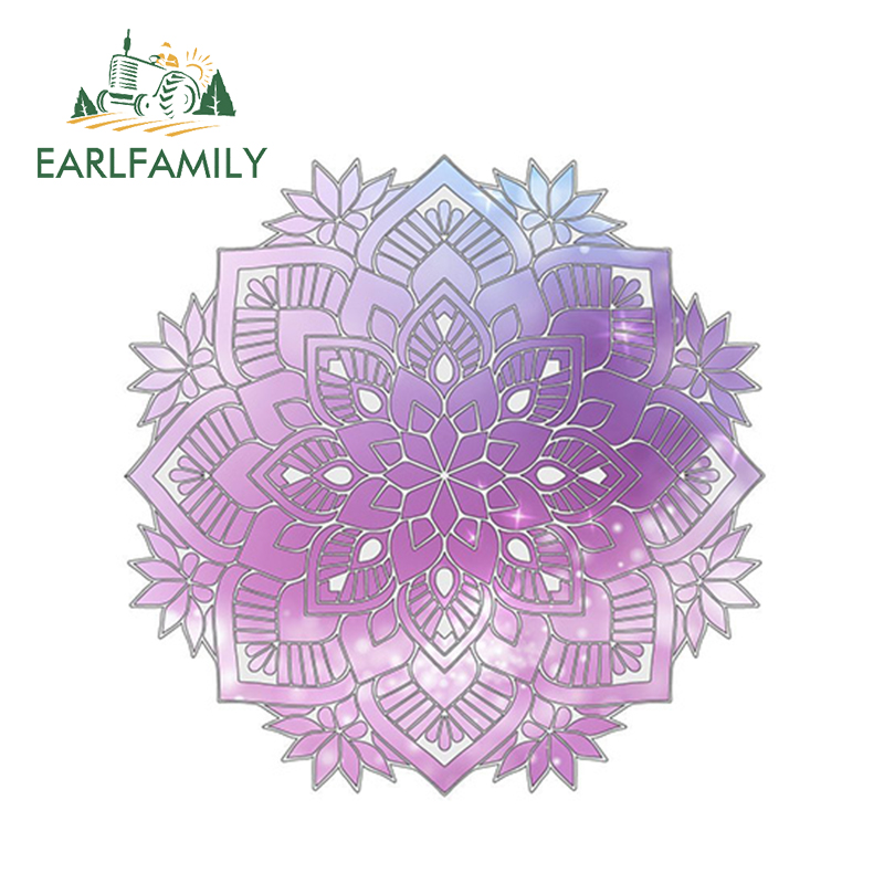 EARLFAMILY 13cm X 13cm Watercolor Mandala Car Sticker Boho Decal Vinyl Reflective Car Styling Waterproof Window Accessories