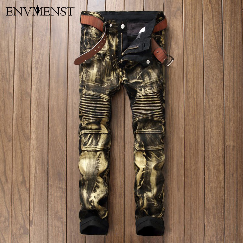 ФОТО Envmenst 2017 Men's Fashion Brand Designer Ripped Biker Jeans Men Distressed Moto Denim Joggers Washed Pleated Jean Pants