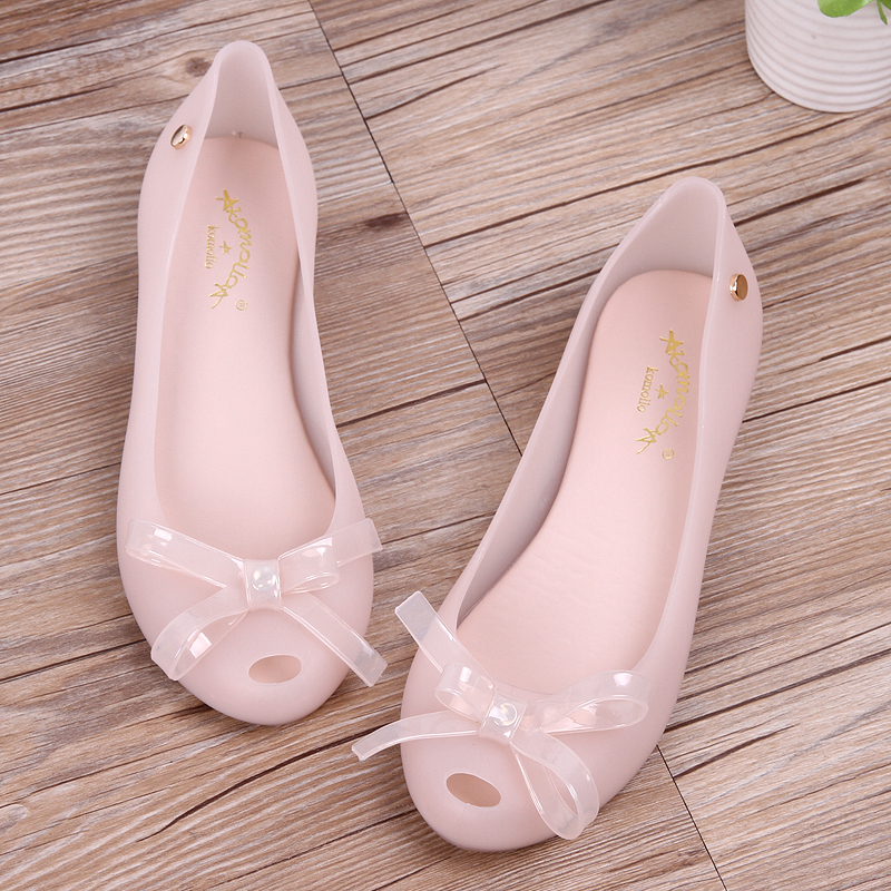 SLHJC Jelly Shoes Summer Autumn Slip Resistance Bow Flats Peep Toe Rain Shoes Women Summer Beach Sand Casual Holiday Flat Heel