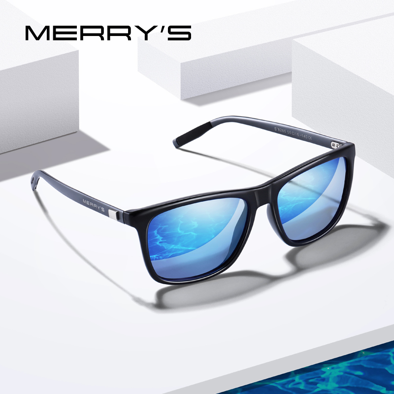 MERRYS DESIGN Men Women Classic Square Polarized Sunglasses Aluminum Legs Lighter Design UV400 Protection S8286-in Men's Sunglasses from Apparel Accessories