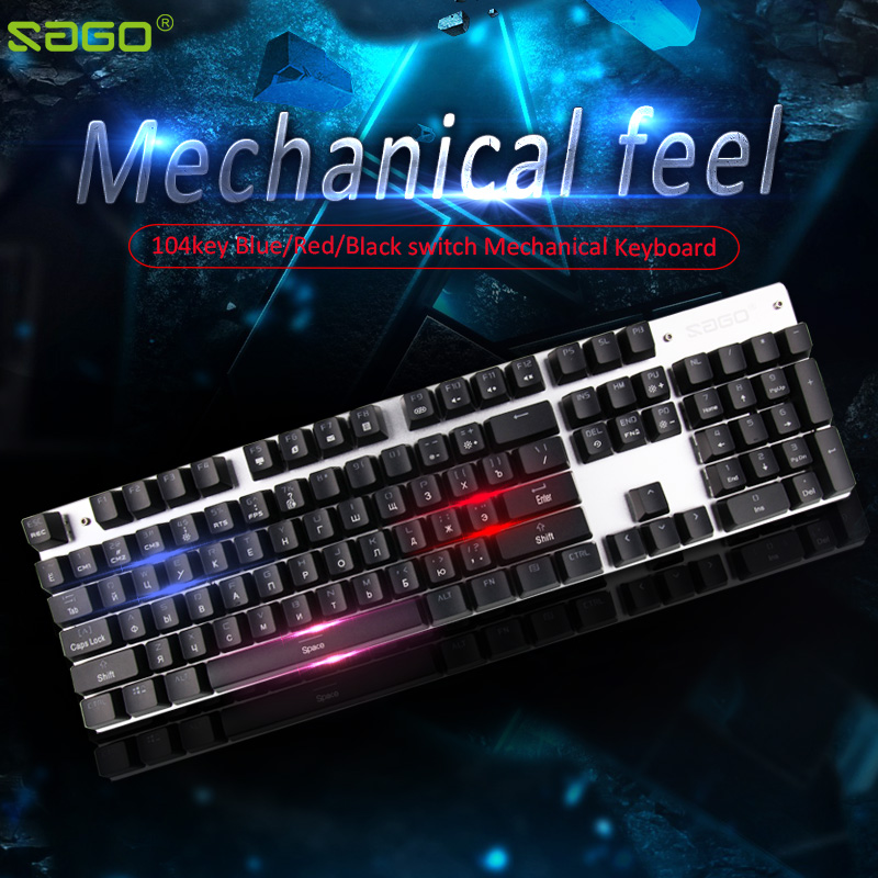 0844a309f23 Sago Mechanical Keyboard 104 keys LED backlit Gaming Keyboard usb Wired keyboard  Russian keyboard for PC laptop Large-scale game