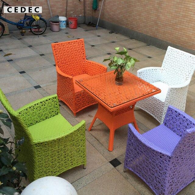 5 Pecas Moderne En Osier Pe Rotin Patio Exterieur Table De Salle A