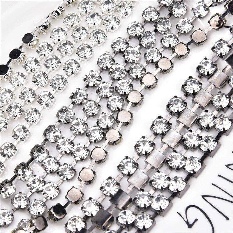CH018 3mm Silver Chain for Wedding crafting BULK- 5 Feet Glass Rhinestone Chain decoration
