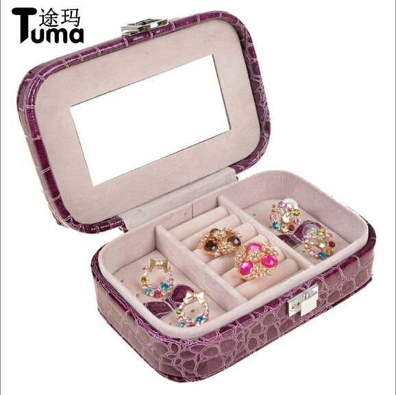 Wholesale And Retail 2018 New High Quality Pu Sleek Portable Trinkets Jewelry Boxes Simple And Fine Jewelry Box For Girls Gift