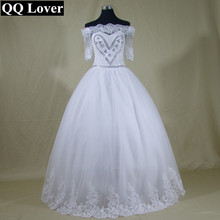 QQ Lover African Half Sleeves Romantic Beads Ball Gown Lace Wedding Dress Custom-made Bridal Gowns Wedding Dresses