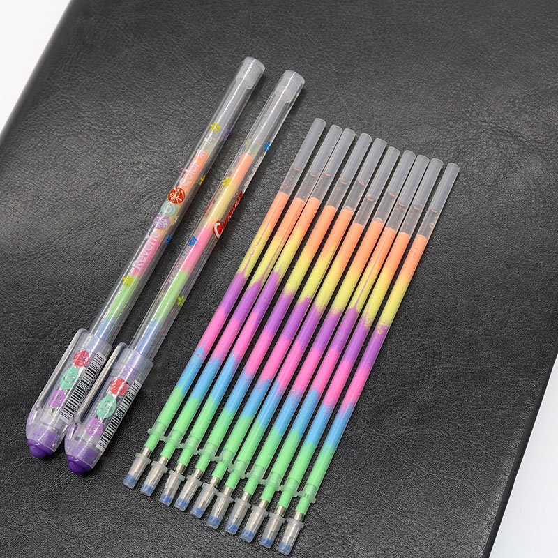 10 Refills 2 Pen Sets 6 Colors Rainbow Gel Pen School Office Supplies Graffiti Mark Stationery