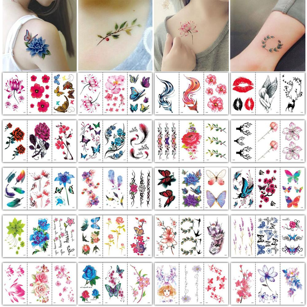 60pcs/lot Temporary Tattoo Sticker Flower Butterfly Sexy Tattoo For Women Temporary Wrist Tattoos Rose Lotus Small Tatoo Sheets