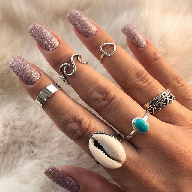 7 Pc Heart Love Wave Shell Letter Gem Silver Ring Set