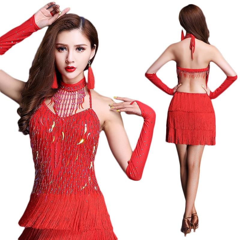 2018 Latin Dance Dress Tassel Elegant Sexy Women Tango Ballroom Salsa Stage Dance Costumes Skirt Stage Performance Dancewear