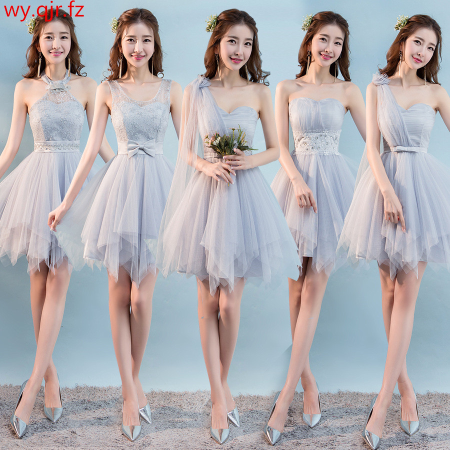 PSQY-H#New Short Grey Bridesmaid Dresses Spring Summer 2019 Girls Wedding Party Prom Toast Dress Sister Group Wholesale Girl