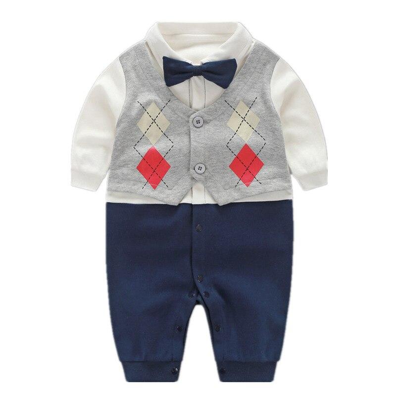 5ef2ba769404 Handsome Baby Rompers 2018 Newborn 0-18M Gentleman Clothing Set Infant Bow  Tie Costume Cotton