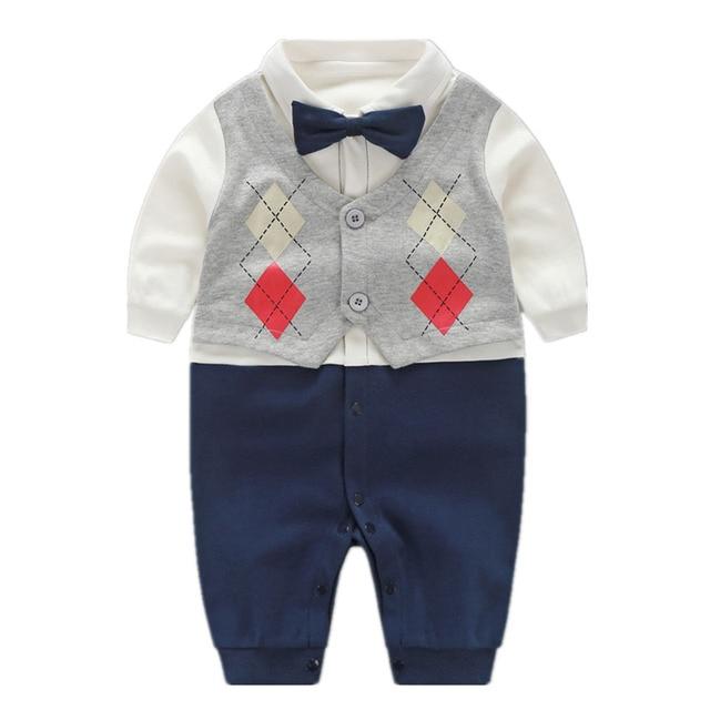Hermoso Bebé Mamelucos 2018 Recién Nacido 0-18 M Ropa Infantil Pajarita Caballero Traje de Algodón Mono Del Bebé Del Bebé Ropa de niño