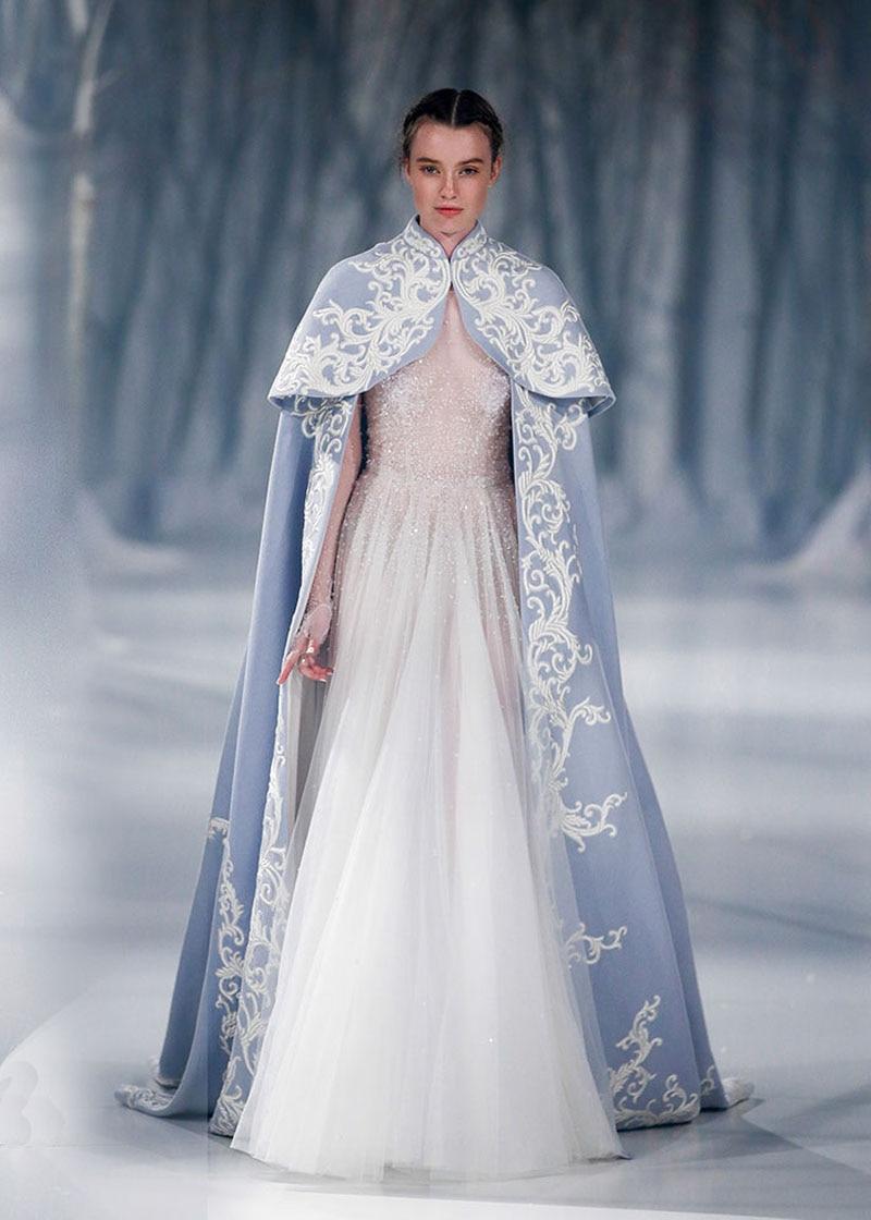 a9ed239c6a97c High Neck Long Embroidery Wedding Cape Blue Long Sleeves Satin Bridal  Bolero Lace Cape Wedding Wedding Accessories 2017 SE34