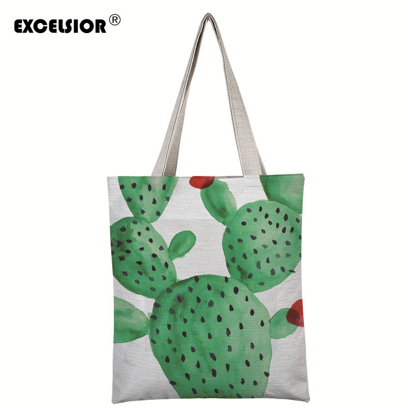 EXCELSIOR Cactus Printed Canvas Tote Handbags Daily Use Shopping Bag For Female Casual Single Shoulder Bags Bolsa Feminina excelsior canvas daily zipper shopping bag large tote women handbags foldable hand pattern ladies single shoulder beach bags