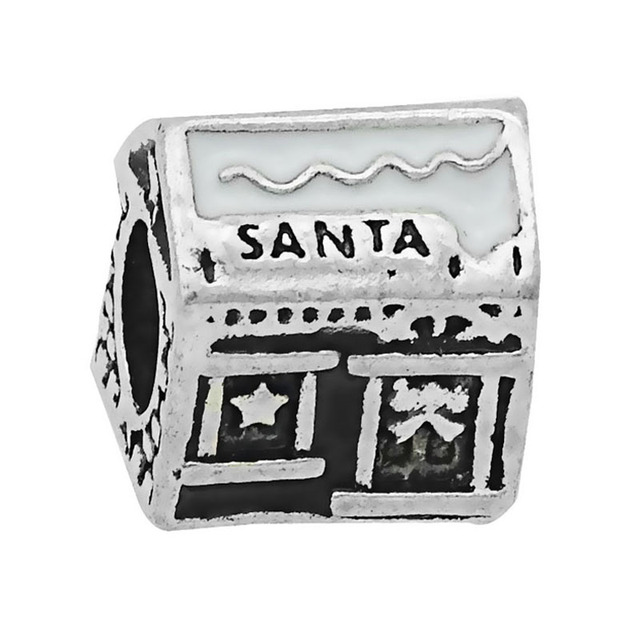 85cececd7 Free Shipping Christmas 1PC Silver Santa House European Alloy Big Hole Bead  space Charms fit Pandora Charm Bracelets & Bangles
