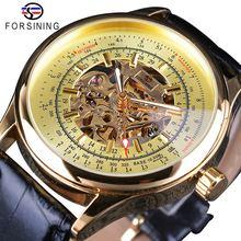 Часы скелетоны forsinong Мужские механические золотистые прозрачные