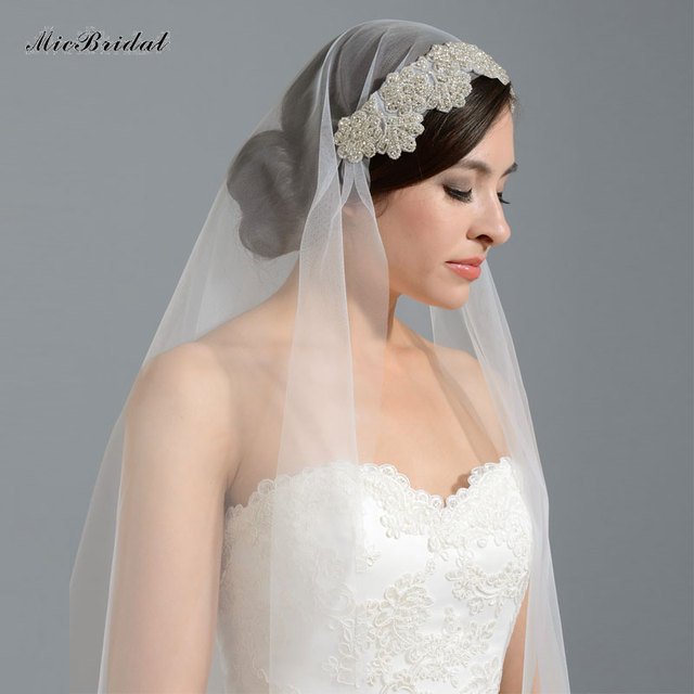 3 M Luxury Beaded Wedding Veils With Crystal White Ivory Bridal Veil With Comb Acessorio para cabelo de noiva 2016 Real Photo