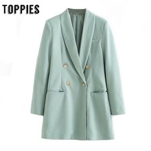 2019 Double Breasted Small Suit Jacket Women Long Blazer Off