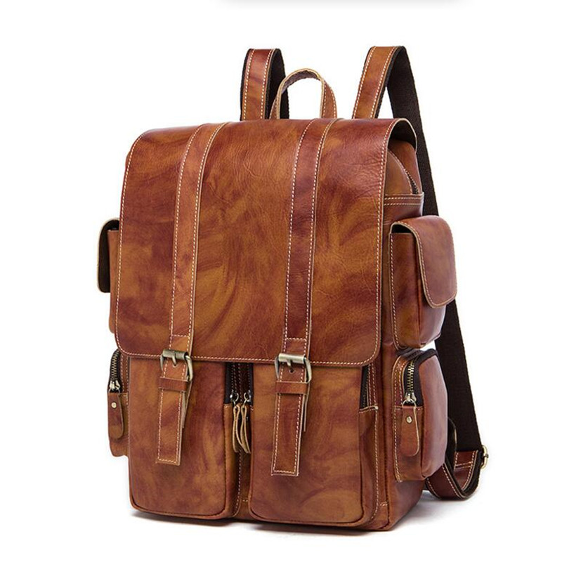 цена на Genuine Leather Bag Men Backpack Fashion Teenage Backpack Cow Leather High Quality Large Capacity Travel Bag School Backpack