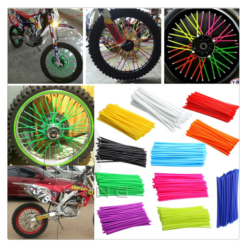Colorful Florescent Motorcycle Wheel Rim Cover Spoke Skins Wrap Tubes Universal for Dirt Bike ATV Quad Mini Motorbike купить