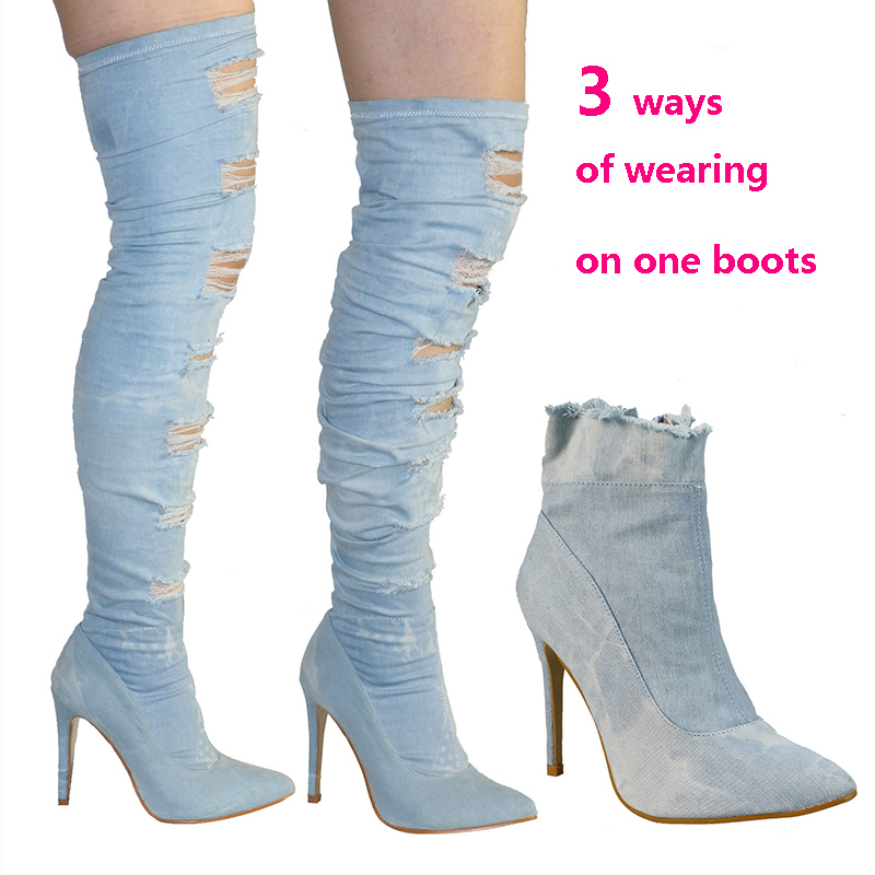 Unique 2017 Cool Broken Holes Sexy Pointed Toe High Thin Heel Ripped Jeans font b Cowboy