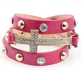 Miasol pulsera de cuero de doble envoltura con Micro pavimento CZ Disco Cruz encanto pulsera colgante de cristal de envoltura múltiple para regalo de mujer