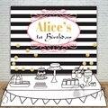 Allenjoy фоны для дня рождения для девочек фон для детского душа черно-белый полосатый плакат с приглашением на вечеринку по индивидуальному за...