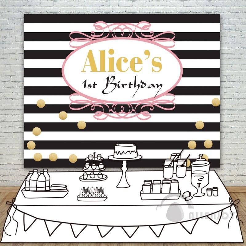 Allenjoy filles anniversaire décors bébé douche fond noir et blanc rayure bannière Invitation fête personnaliser