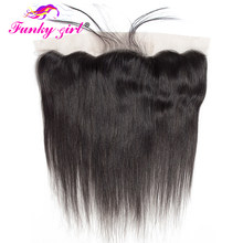 Funky Girl 13x4 Ear To Ear Full Lace Frontal Closure Bleached Knots With Baby Hair Brazilian Straight Frontal Remy Human Hair(China)
