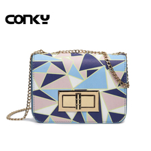 bags handbags women famous brands PU Leather Messenger Bags Geometric Chains Flap Mini Small luxury handbags