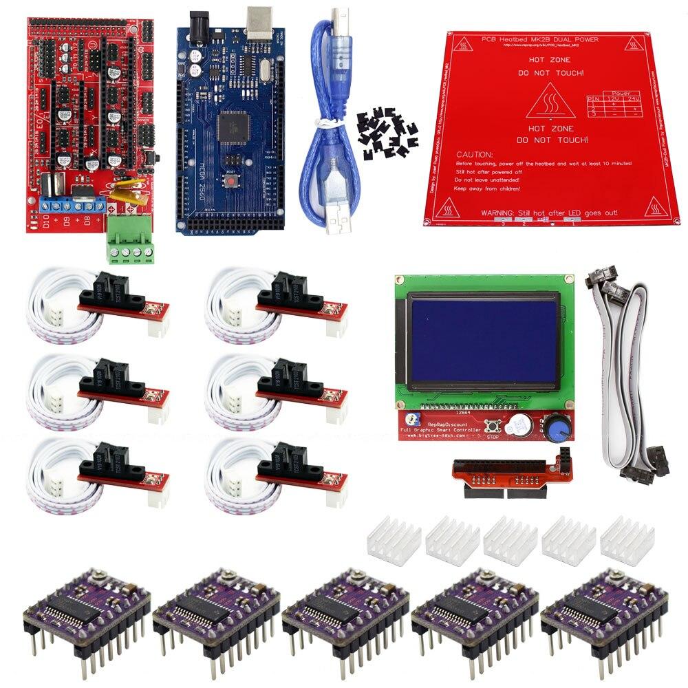 Reprap Ramps 14 Kit With Mega 2560 R3 Heatbed Mk2b 12864 Lcd 1 4 3d Impresora 5 A4988 Drivers Para Arduino Cnc Printer Controller