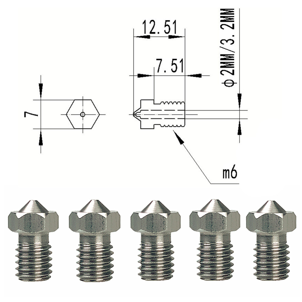 3D Printer Nozzle J-Head Stainless Steel Nozzle 0.25,0.4,0.8mm V6 V5 1.75