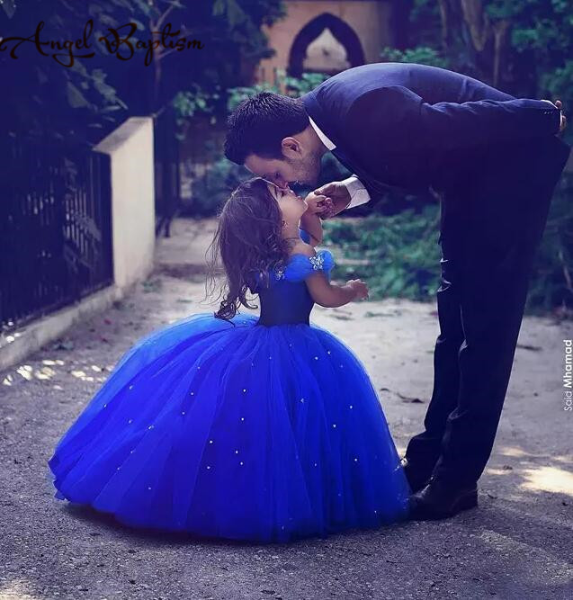 Long royal blue Princess Cinderella Flower Girl Dress Off the shoulder Ball Gown puffy tulle tutu baby first birthday party gown