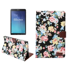 """for Samsung Galaxy Tab E 9.6"""" T560 T561 Tablet Case Flowers PU Leather Wallet Cover Case for Galaxy Tab E 9.6 T560 with Stand"""