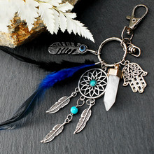Small Handmade Feather Dream Catcher Keyring Keychain Decor Car Bag Hanging Decoration Pendant New Year Mini Dreamcatcher Gift E