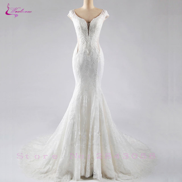 Waulizane Fashion Design Deep V-Neck Mermaid Wedding Dresses Luxury Unique Lace Appliques Back With Button Bridal Gowns