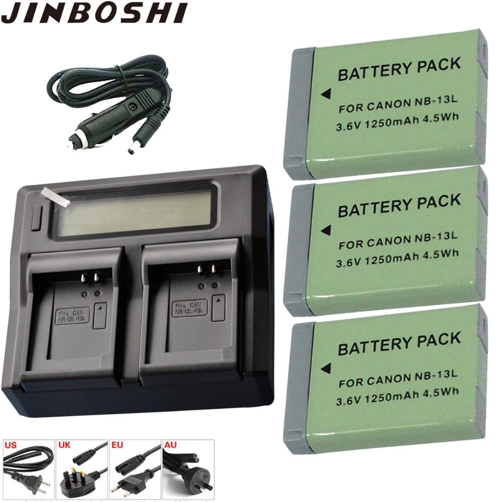 Buy 3X NB-13L NB 13L 1250mAh Rechargeable  Battery + LCD Dual Quickly Charger for Canon G5X G7X G9X G7 X Mark II SX720 HS Bateria for only 95.99 USD