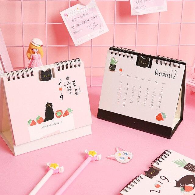 2019 Creative Black Cat Strawberry Calendar Diy Table Calendars Desk