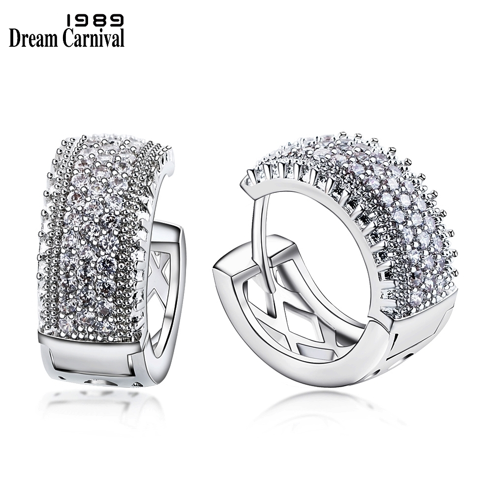 DreamCarnival 1989 New Arrivals Small Hoop Earrings for Women Rhodium Color Half White Cubic Zirconia Boucle d'oreille SE24113