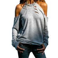 2019 Women's Long-sleeved Tops Streetwear Off Shoulder Holes Tshirt Sexy Hollow Out Leisure T-shirt Spring Summer T-shirts Grey