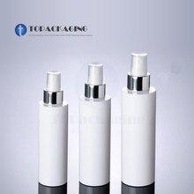 100/150/200ML Garrafa Bomba de Spray Vazio Recipiente Cosmético Branco Perfume Sub engarrafamento Plástico Névoa Atomizador, anel de Alumínio anodizado