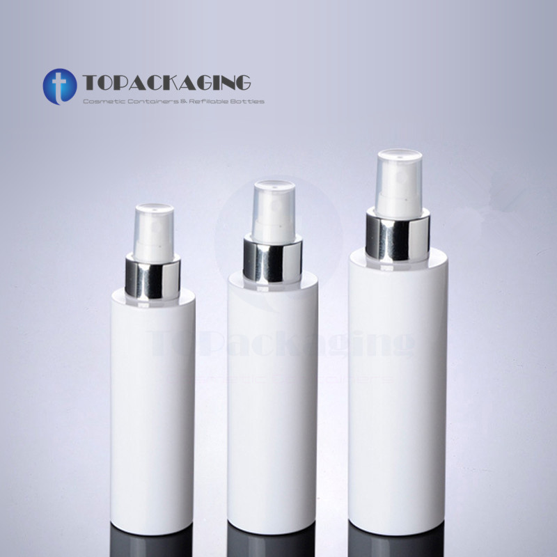 100/150/200ML Spray Pump Bottle Empty Cosmetic Container White Plastic Perfume Sub bottling Mist Atomizer,Anodized Aluminum Ring-in Refillable Bottles from Beauty & Health