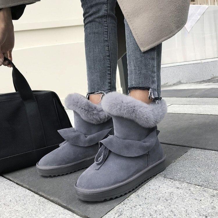 De Hiver Confort Fourrure Pxelena Chaud Plate gris Neige forme Peluche En Chaussures Conception Dames Femmes Noir Plat Antidérapant 2018 Lapin Luxe Bottes Cheville u1FJcTlK3