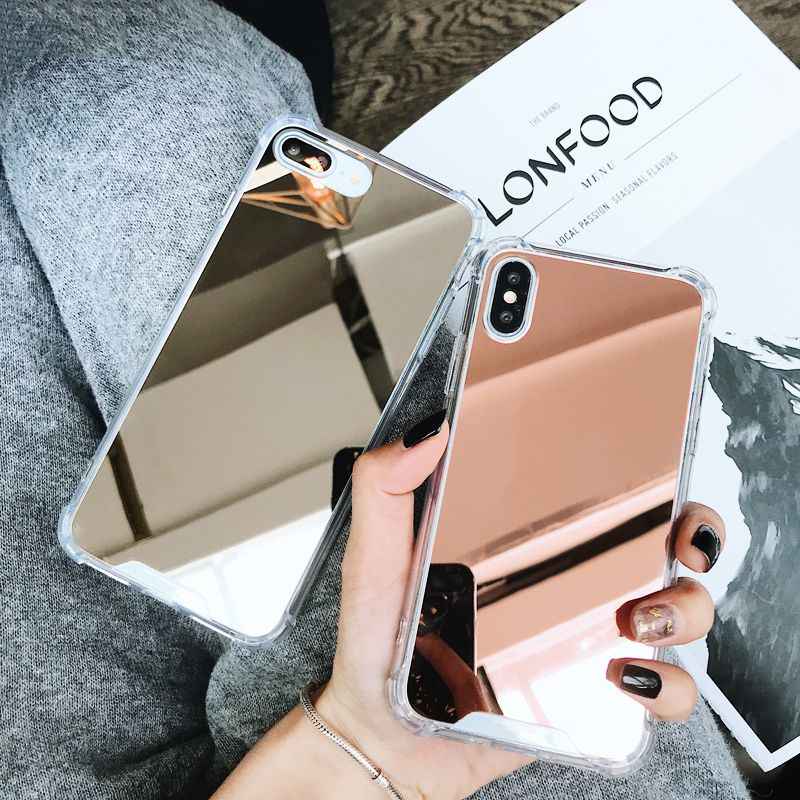 For Iphone 7 Case Airbag Shockproof Drop Protection Luxury Rose Gold Mirror TPU Cover For Iphone X 6 6S 7 8 Plus Coque Girl Case