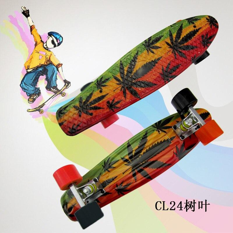"Image 3 - Plastic Skateboard 22"" Shining color mixed Skate Cruiser Board Plastic Retro Style Banana Skateboard Light Mini Longboard-in Skate Board from Sports & Entertainment"