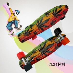 """Image 3 - Plastik Kaykay 22 """"Parlayan renk karışık Paten Cruiser Kurulu Plastik Retro Tarzı Muz Kaykay Işık Mini Longboard"""